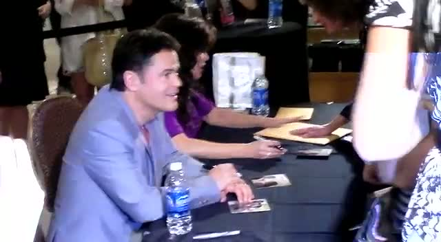 Donny Osmond And Marie Osmond Sign Copies Of Their Album 'Donny & Marie' At The Flamingo Hotel And Casino