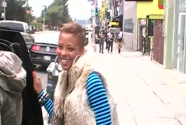 Eva Marcille chats to photographers after shopping on Melrose Avenue