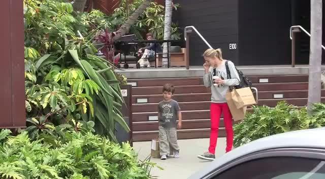 Leanne Rhimes and her step son Mason Cibrian seen shopping at Cross Creek Malibu