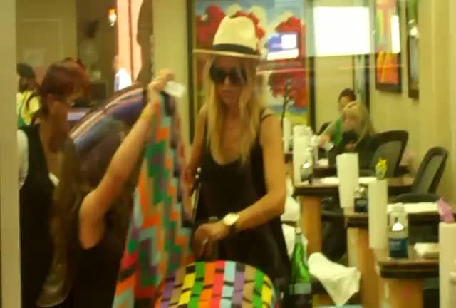Rachel Zoe and her son Skyler leave a nail Salon and head to Toast restaurant