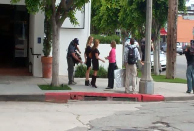 "Taylor Armstrong shooting the ""Real Housewives of Beverly Hills."" When asked about a new series, she did not comment"