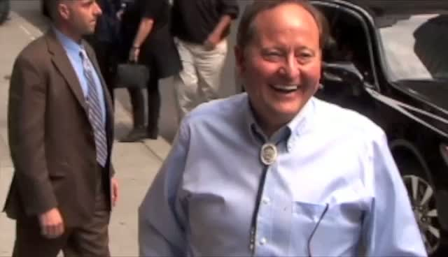 Governor Of Montana Brian Schweitzer Shares Joke With Photographers Before David Letterman