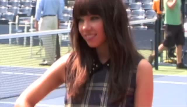 Carly Rae Jepsen And The Wanted Pose With Large Tennis Props For Press Photos At Arthur Ashe Kids Day - Part 2