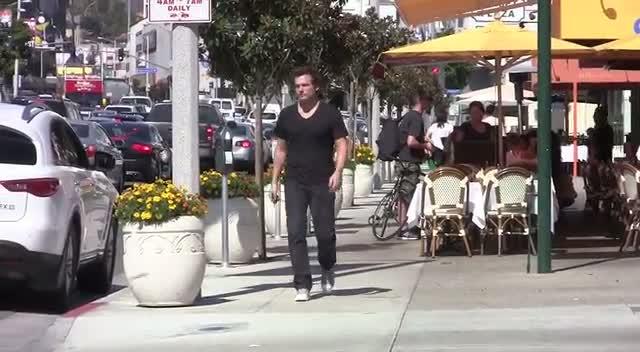 Len Wiseman Approaches His Car Parked On Sunset Boulevard, LA