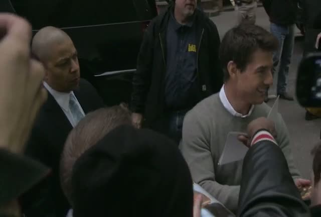 Tom Cruise Causes Much Pushing And Shoving Among Fans As He Arrives For David Letterman