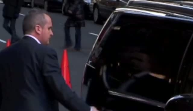 James McCartney Waves To Photographers On His Way Into Ed Sullivan Theater