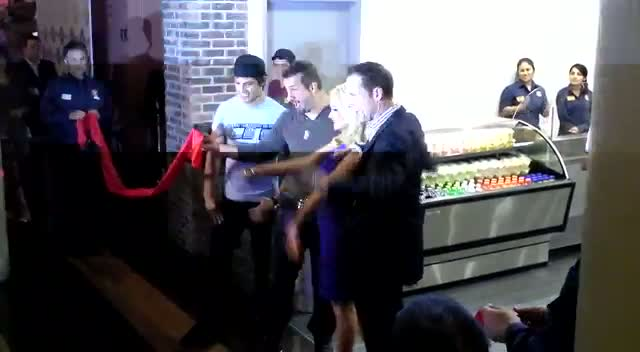 Holly Madison And Joey Fatone Cut The Ribbon At Las Vegas Sandwich Shop Opening