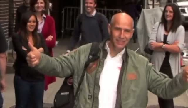 Fusionman Yves Rossy Arrives For The Late Show With David Letterman