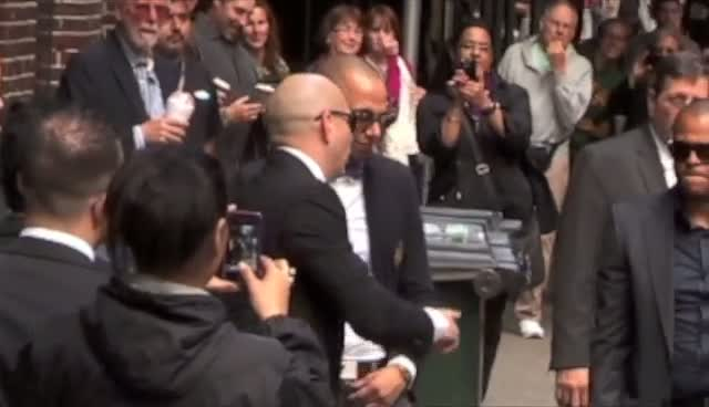 Pitbull Arrives For David Letterman