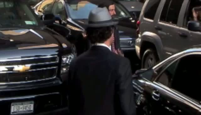 Sacha Baron Cohen Appears Shy When Arriving For David Letterman