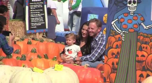 Ian Ziering and his wifeErin take their daughter to Mr. Bones Pumpkin Patch