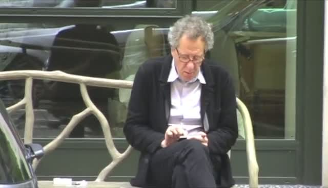 Geoffrey Rush Chats To A Fan Whilst Out In Manhattan