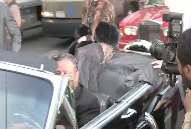 Lady Gaga Arrives In Stylish Classic Car For Perfume Launch