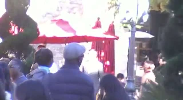 Djimon Hounsou Takes Son Kenzo Out To A Holiday Market