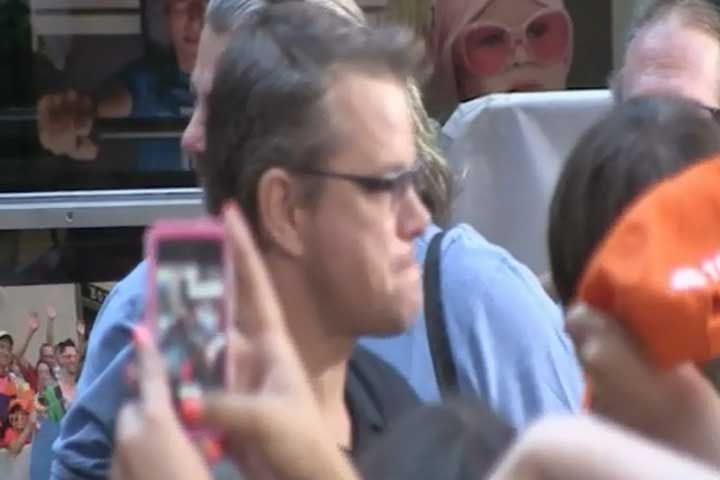 Matt Damon Is Spotted With His Fans Outside The 'Today' Show Studios