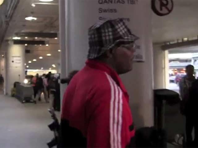Samuel L Jackson Is Quizzed About 'Breaking Bad' Charity Video At LAX