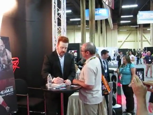 WWE Champion Sheamus Meets And Greets A Fan At Vegas' 2013 Licensing Expo