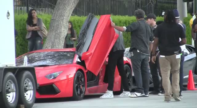 Chris Brown Kisses Brunette And Drives A Lamborghini In Video Shoot
