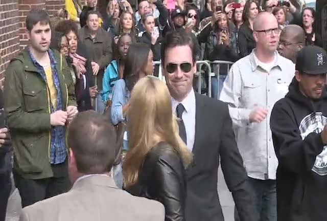 Jon Hamm And Jennifer Westfeldt Arrive For 'David Letterman' As Snoop Lion Is Spotted Leaving