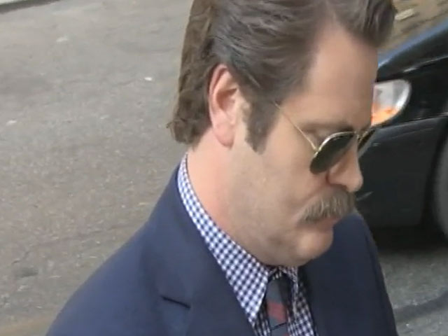 Nick Offerman Strikes Funny Poses For Paps Outside 'Letterman'