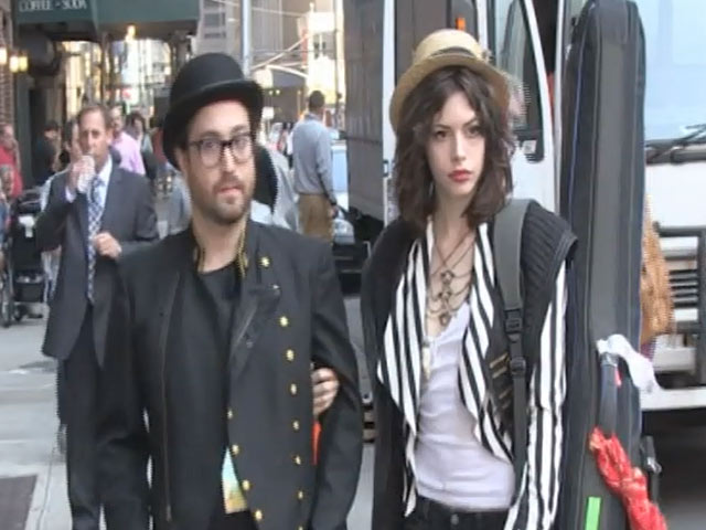 Sean Lennon And Charlotte Kemp-Muhl Make A Brief Stop Outside 'Letterman' Studios