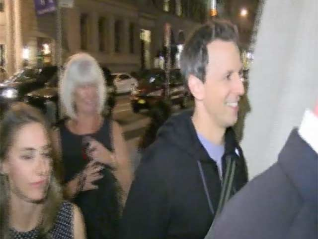 Seth Meyers And Bobby Moynihan Seen Arriving At The SNL After Party