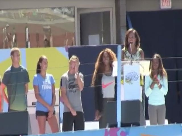 Michelle Obama Gives Speech At 2013 Arthur Ashe Kids Day - Part 2