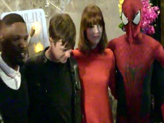 Cast Members From 'The Amazing Spider-Man 2' Are Snapped Lighting Up The Empire State Building
