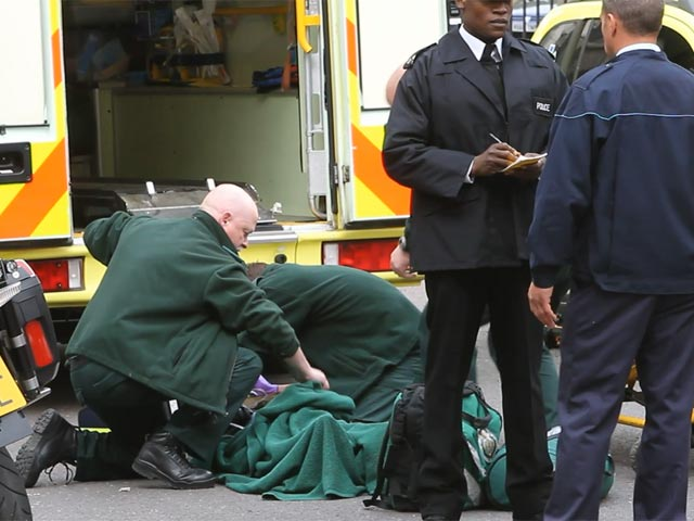 Emily Berrington Shoots Ambulance Scene On London Set Of '24: Live Another Day' - Part 1