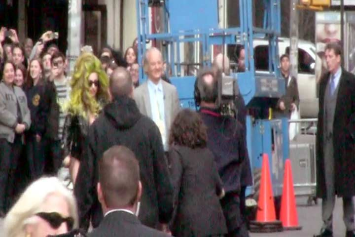 Lady Gaga Holds Hands With Bill Murray And David Letterman Outside The 'Letterman' Studios