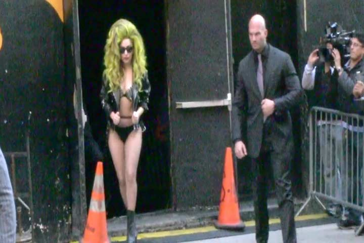 Lady Gaga Hobbles In Platform Stilettos Outside 'Letterman'
