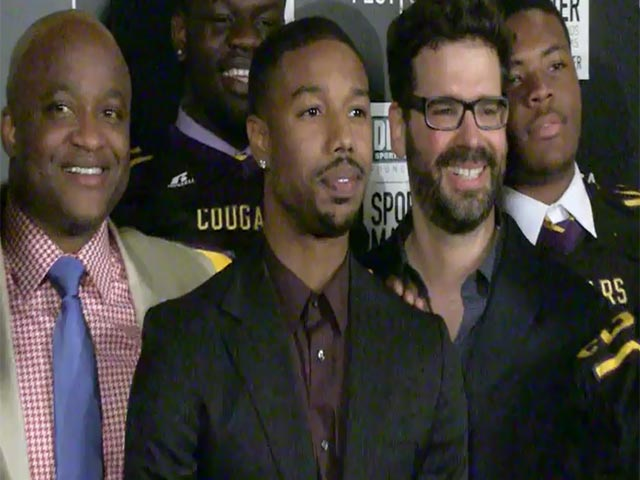 Michael B. Jordan Poses With High School Football Team At 'We Could Be King' Tribeca Premiere