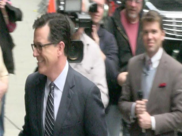 David Letterman's Future Successor Stephen Colbert Arrives Outside 'The Late Show'