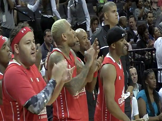 Chris Brown Plays Basketball At Barclays Centre In Charity Event - Summer Classic Charity Basketball Game Part 4