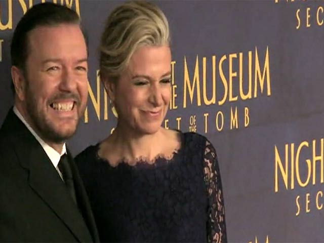 Ricky Gervais And Dexter Entertain Paps At 'Night at the Museum: Secret of the Tomb' Premiere - Part 1