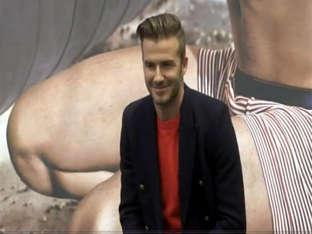 David Beckham Promotes His 'Bodywear' Underwear Collection In Times Square