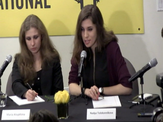 Nadya And Masha From Pussy Riot Talk About Suppression In Russia At Amnesty Press Conference