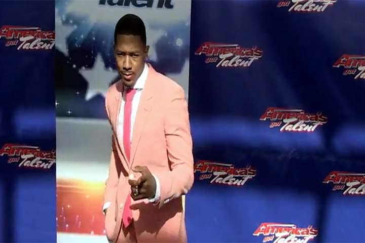 Nick Cannon Dons Pink Suit At 'America's Got Talent' Season 9 Auditions