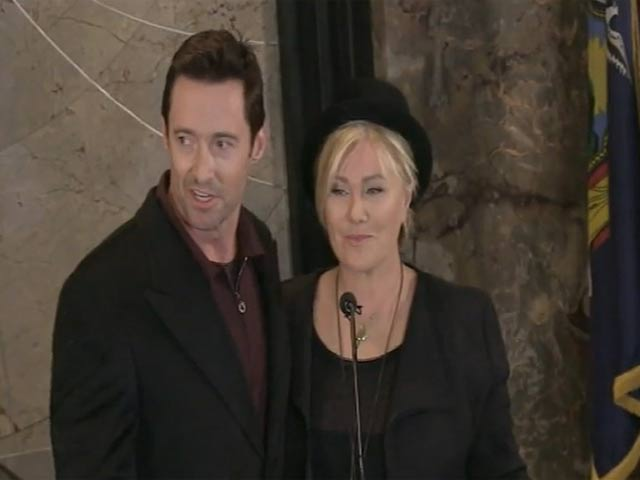 Hugh Jackman And His Wife Make A Speech Before Lighting Up The Empire State Building