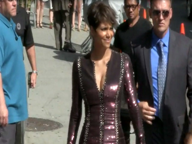 Halle Berry Stuns In Glittering Purple Dress Outside 'Letterman'