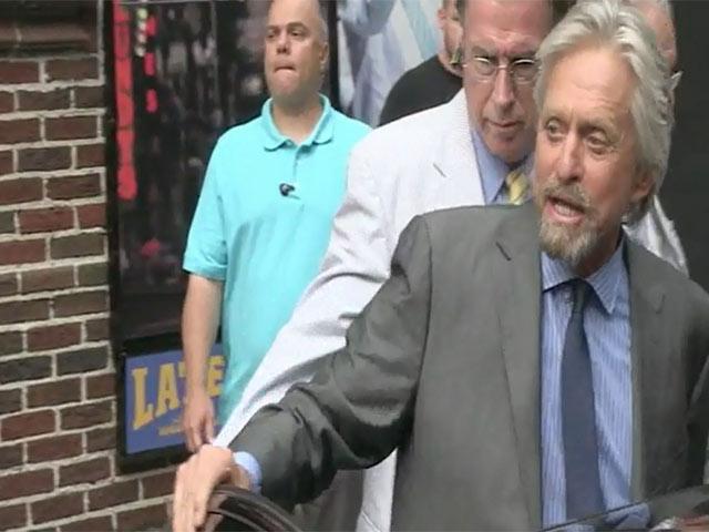 Michael Douglas' Car Swamped By Fans Outside 'Letterman'