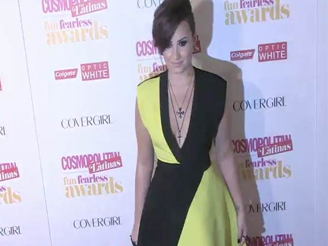 Demi Lovato Wears Yellow And Black At Cosmo Fun Fearless Latina Awards