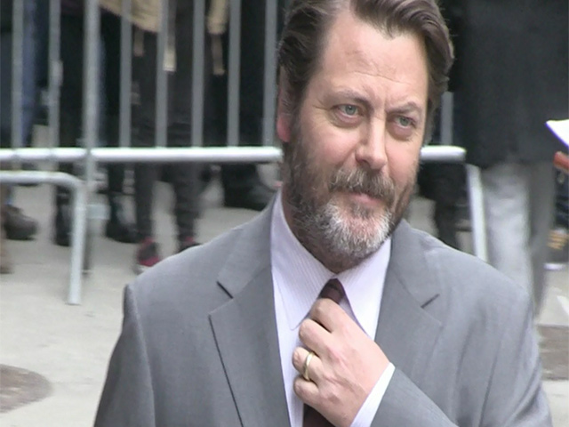 Comedy Guy Nick Offerman Tries To Be Sexy For Paparazzi Outside 'Letterman'