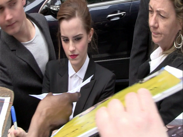 Smartly Dressed Emma Watson Greets Over-Eager Fans Outside 'Letterman' Studios