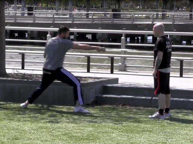 Hugh Jackman Practices Sword Training In New York Ahead Of 'Pan' Filming