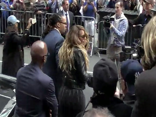 Mariah Carey Looks Ultra Glam In Black Fishtail Dress Outside 'Letterman' Studio