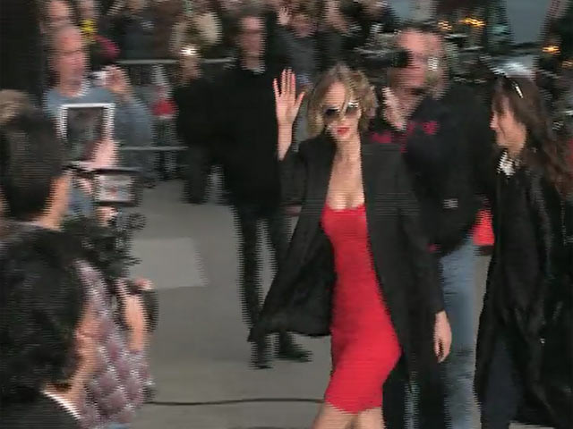 Jennifer Lawrence seen arriving for 'Late Show with David Letterman'