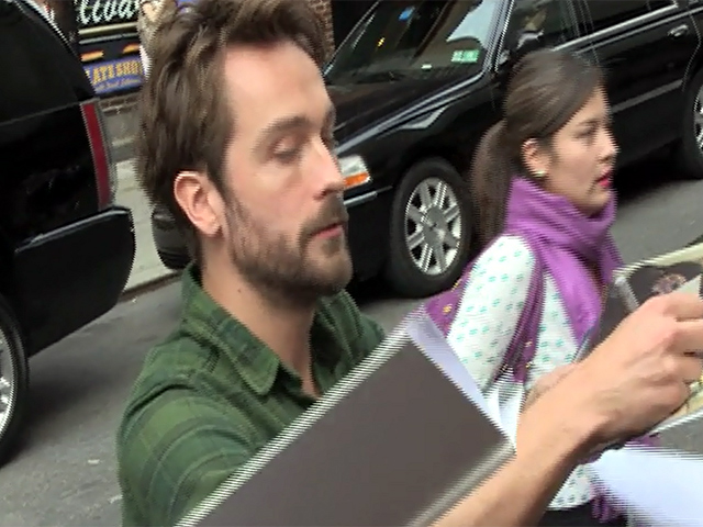 Tom Mison Signs For Fans Outside 'Letterman' Studios In New York