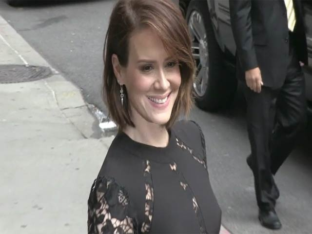 Sarah Paulson Looks Gothic In A Black Gown Outside 'Letterman'