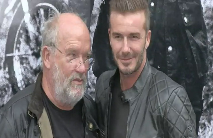 David Beckham Poses With Photographer Peter Lindbergh Outside Belstaff House In New York - Part 2